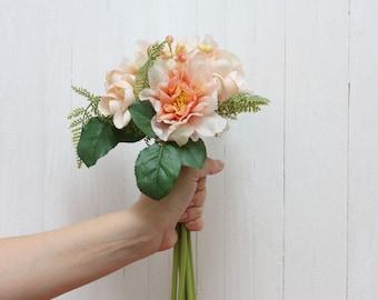 Peach bouquet Artificial flower Fake flowers Bouquet Artificial flowers bouquet Peony hydrangea bouquet
