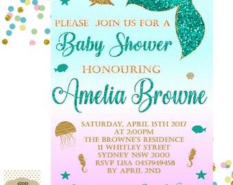 Mermaid baby shower invitations gangcraft mermaid baby shower etsy baby shower invitations filmwisefo