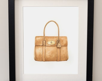 MULBERRY BAYSWATER - Handbag - Fashion Art - Watercolor Print - Dressing Room Wall Art - Gift For Her - Haute Couture Art - Mulberry - Bag