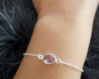 Amethyst Bracelet - Sterling Silver - Dainty Bracelet - February Birthstone - Minimal Bracelet - Gift for Her - Bridesmaid Gift