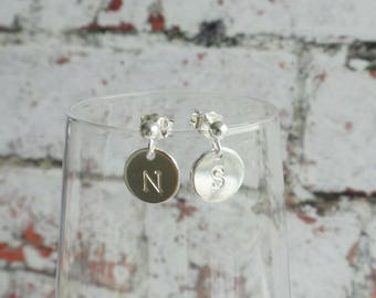 Personalised Initial Earrings - Handstamped Earrings - Letter Earrings - Custom Initials - Gold Filled - Sterling Silver - Gift for Her