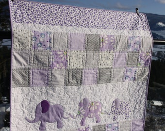 Purple Elephant Baby Quilt