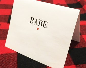 Babe card // Valentine's Day Card // Modern Love Card // Simple Romantic Card // You Are A Babe // Cute Romantic Card // Dating // Wedding