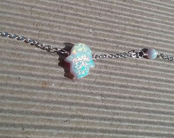 Hamsa White Opal asymmetrical choker