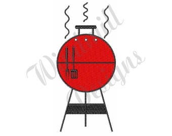 Red Bbq Grill - Machine Embroidery Design