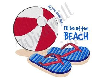 Beach Ball & Sandals - Machine Embroidery Design