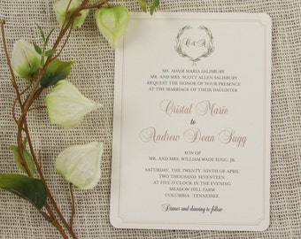 Classic Greenery Wreath with Monogram Classic Gold Script 5x7 Wedding Invitation with RSVP Postcards - TE1