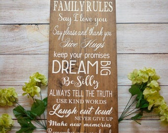 Family Rules Sign - Wood sign - sign - farmhouse - cottage chic - rustic - home decor - decor - inspirational quotes