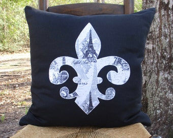 Black linen throw pillow with Eiffel tower print fleur de lis appliqué