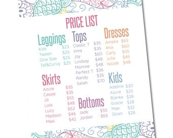 Price List Sign 8x10- Instant Download- Approved Fonts and Colors