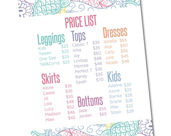 Lularoe Price List Sign 8x10- Instant Download- Approved Fonts and Colors