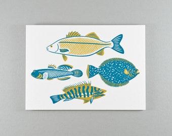 Notecard | Teal & Mustard British Fish | Single card and envelope