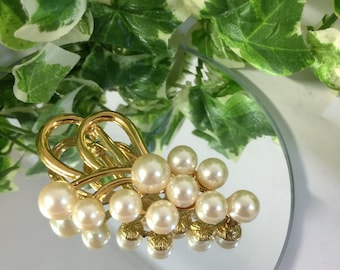 Beautiful Large Vintage Faux Pearl Brooch - Signed Napier