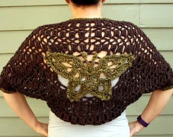 Crochet Shrug with Green Butterfly