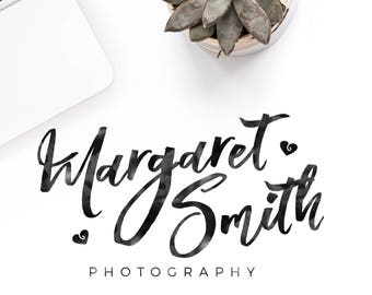 Photography logo, premade logo, watercolor logo, calligraphy logo, watermark, premade logo design, rosegold logo, gold logo, custom design