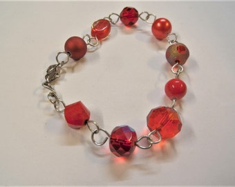 Red beaded bracelet, handcrafted on wire (S45A)