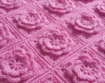 Pink Crochet Baby Blanket, Crochet Blanket Baby, Car Seat Blanket, Baby Shower Gift For Baby, Receiving Blanket, Christening Gift Girl,