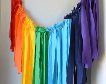 Scrap Fabric Banner, Rainbow Banner, Photo Prop Banner, Rainbow Baby, Rag Tie Banner, Shabby Chic, Party Decor