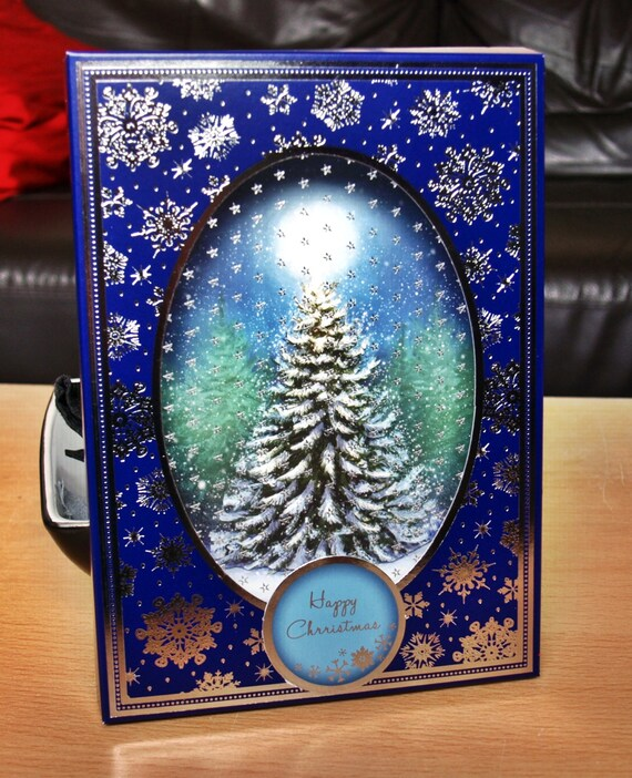 3D Box Christmas Handmade Card - luxury personalised unique quality special christmas tree UK