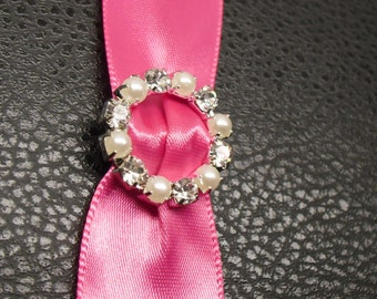 Rhinestone and Pearl Buckle ~ Rhinestone Slider ~ Invitation Embellishment ~ Wedding Invitation ~ Crystal Buckle