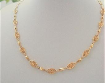 Vintage Filigree Necklace Movitex Style