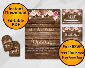 Wedding invitation Instant Download printable editable SALE 60% OFF Watercolor Rustic wood free thank you free favor tags free back X005w6
