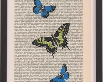 dictionary page Wall Decor - butterflies, book art page print, dictionary print, screen print on dictionary, butterflies Art Print