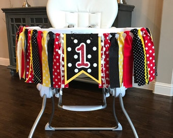 Red, White, Black and Yellow High Chair Birthday Banner