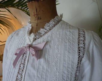 1900 Batiste Peignoir, pink ribbon, antique lingerie, antique Peignoir