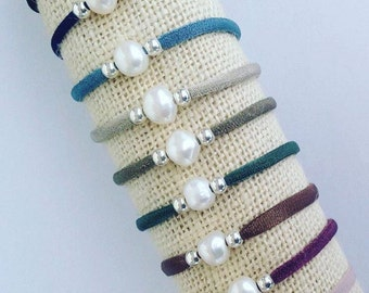 River Pearl bracelet with elastic-ideal as wedding invitations gift-mail nubedicotone@gmail.com