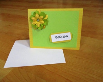Homemade, Thank You, Greeting Card, Blank Thank You Card, Lime and Yellow