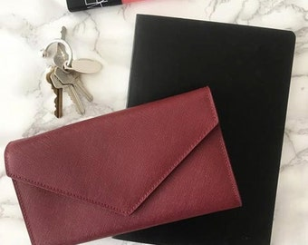 Women's Wallet / Clutch in Burgundy Saffiano Leather (no monogramming available)
