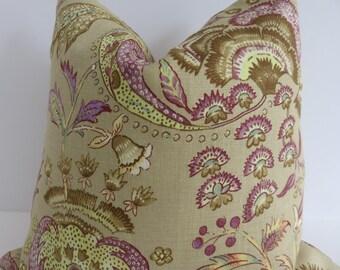 Lilac Floral Plune Pillow Cover-Prune Floral Pillow Cover- Pillow Covers- Accent Pillows- Green Lilac Pillow- Lavender Pillow - Camel Pillow