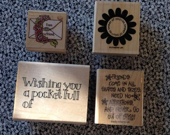 Vintage Rubber Stamps with a Friend Theme, Scrapbooking, Card Making, Crafts