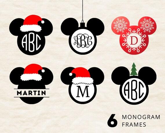 Mickey Mouse Christmas Svg Monogram Frame Svg Mickey Ears