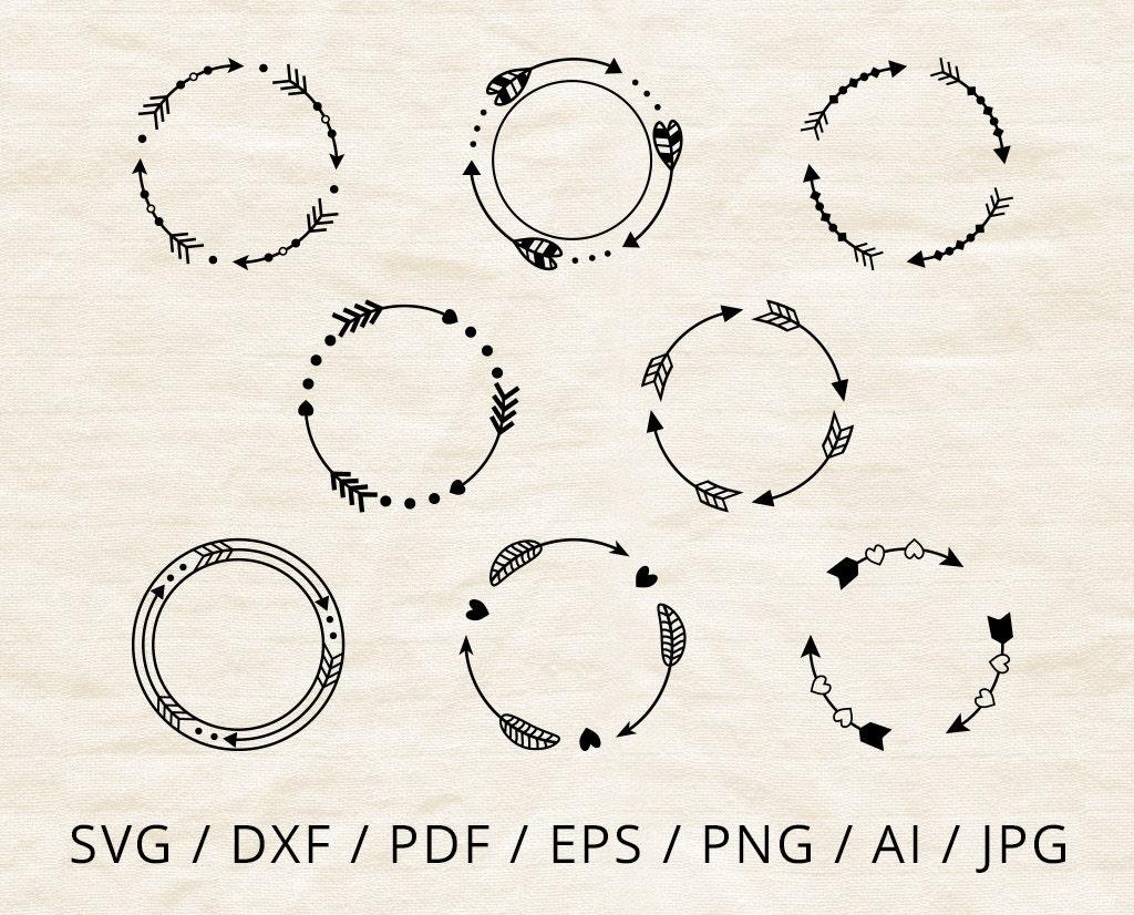 Arrow Monogram Frame Svg Cut Files Download Circle Arrow