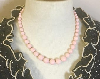Darling - Retro inspired graduated glass bead necklace in dreamy blush pink by Seditious Jewelry