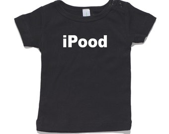 iPood Baby T-Shirt 100% Cotton white and black 0-24 months sizes funny newborn birth