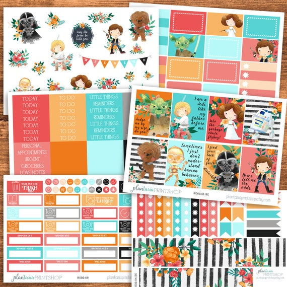 Star Force Planner Sticker Kit, Erin Condren, Happy Planner, Full Boxes, Checklists, Headers, Washi, Sidebar, 6 Pages, Matte Stickers, K002