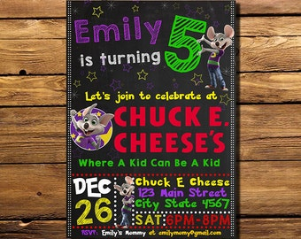 Chuck E Cheese Birthday Invitation, Chuck E Cheese Invitation, Chuck E Cheese Invite, Chuck E Cheese