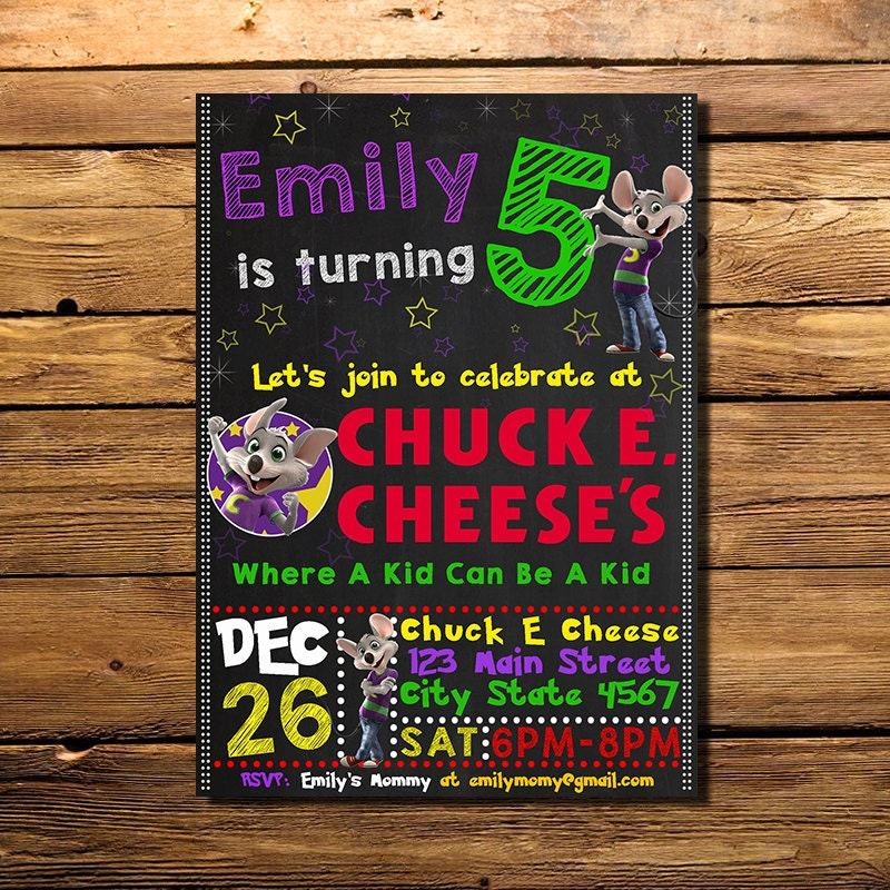 chuck e cheese birthday invitation chuck e cheese invitation, Birthday invitations