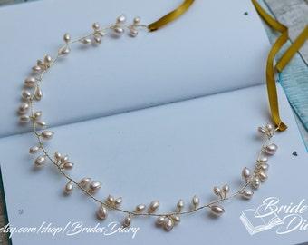 Pearls Bridal Wreath, bohemian headband , wedding gold hair vine