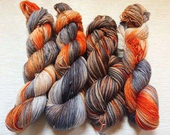 Ombre Orange Yarn - Ombre Grey Yarn - Hand Dyed Orange Yarn - Orange Sock Yarn - Grey Sock Yarn - Hand Dyed Grey Yarn - Wool Yarn - BB-8