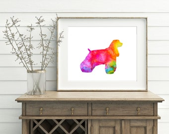 Afghan Wall Art - Dog Artwork, Afghan Hound Art, Afghan Watercolor Art, Afghan Poster, Rainbow Dog Art, Printable Afghan Art