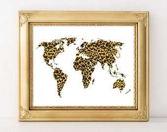 Animal Print Map Art - Leopard World Map Printable 10x8 7x5 Home Decor Map Decor Modern World Map Wall Art - Continent Silhouette Print