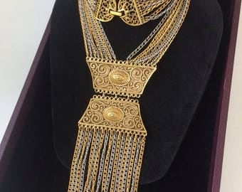 Vintage 1960's Fringed Ethnic Geometric Necklace