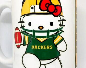 Custom Made Hello Kitty Green Bay Packers 11oz or 15oz Coffee Mug