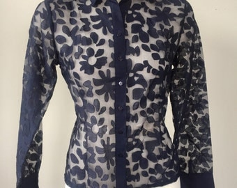 Sheer lace button up top, navy blue