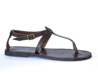 Greek leather Sandals, Women, Men handmade T-strap wrap sandals