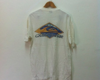 Vintage quicksilver surfing white t shirt Size L